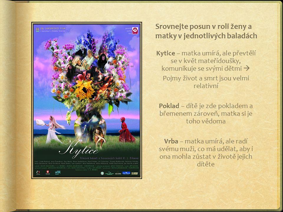 Srovnejte posun v roli ženy a matky v jednotlivých baladách Kytice – matka umírá, ale převtělí se v květ mateřídoušky, komunikuje se svými dětmi  Poj