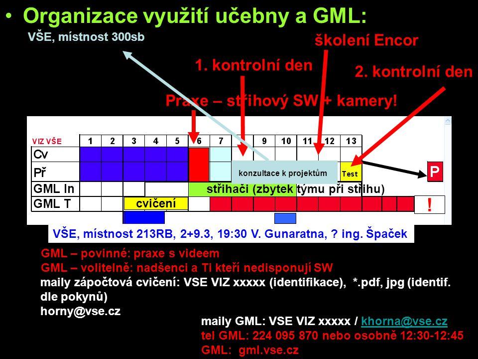 •Organizace využití učebny a GML: •učebna: –všichni studenti - WF bitmap, tipy a triky s bitmapama •GML: –povinně všichni studenti: »základy práce se
