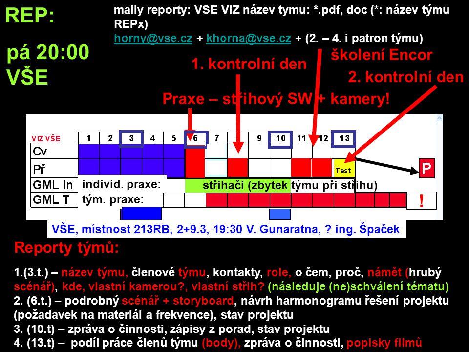REP: učebna: –všichni studenti - WF bitmap, tipy a triky s bitmapama •GML: –povinně všichni studenti: »základy práce se střihovými programy »import videa a RAWů »základy ovládání kamery –volitelné pro laiky: »základy ovládání fototechniky »základy fotografování »základy počítačové grafiky –týmy povinně: »nafocení, nafilmování, tvorba grafiky zdrojových dat »vytvoření finálního výstupu Praxe – střihový SW + kamery.