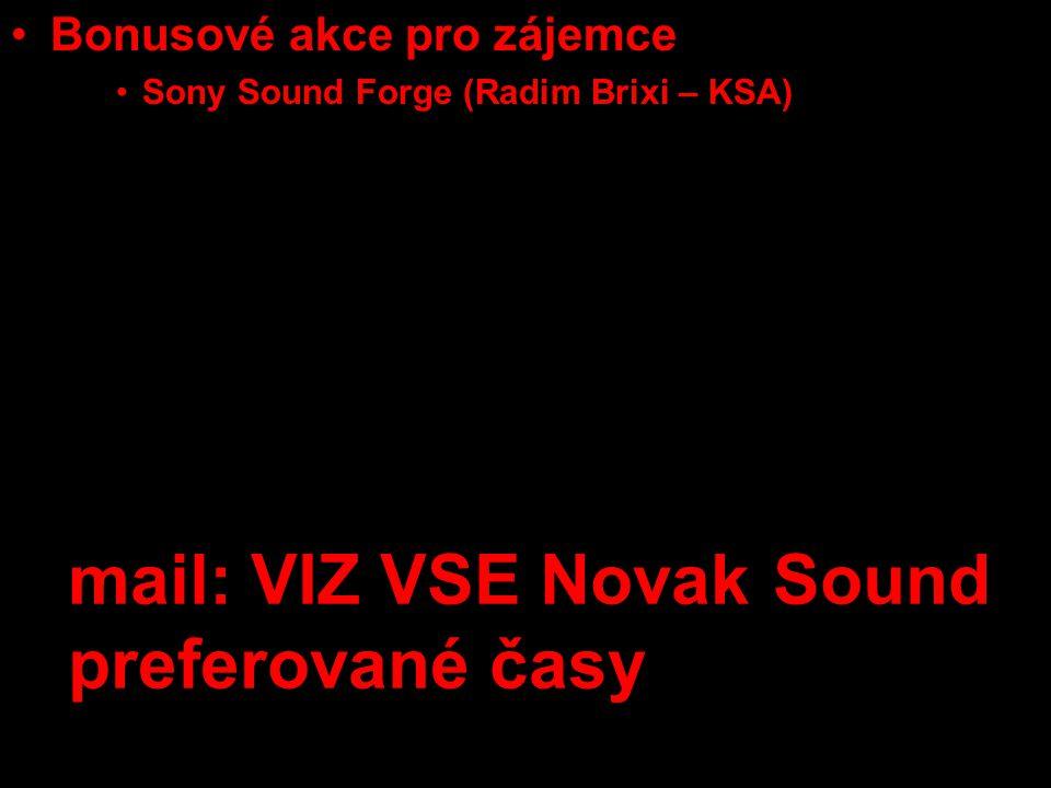 •Bonusové akce pro zájemce •Sony Sound Forge (Radim Brixi – KSA) •Adobe PhotoShop •týmové konzultace se scénaristkou, režisérkou dokumentu a střihačkou (U3V) mail: VIZ VSE Novak Sound preferované časy