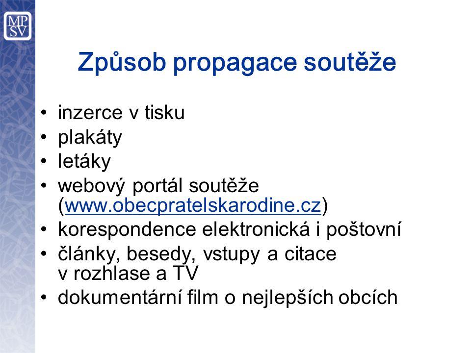 Způsob propagace soutěže •inzerce v tisku •plakáty •letáky •webový portál soutěže (www.obecpratelskarodine.cz) •korespondence elektronická i poštovní