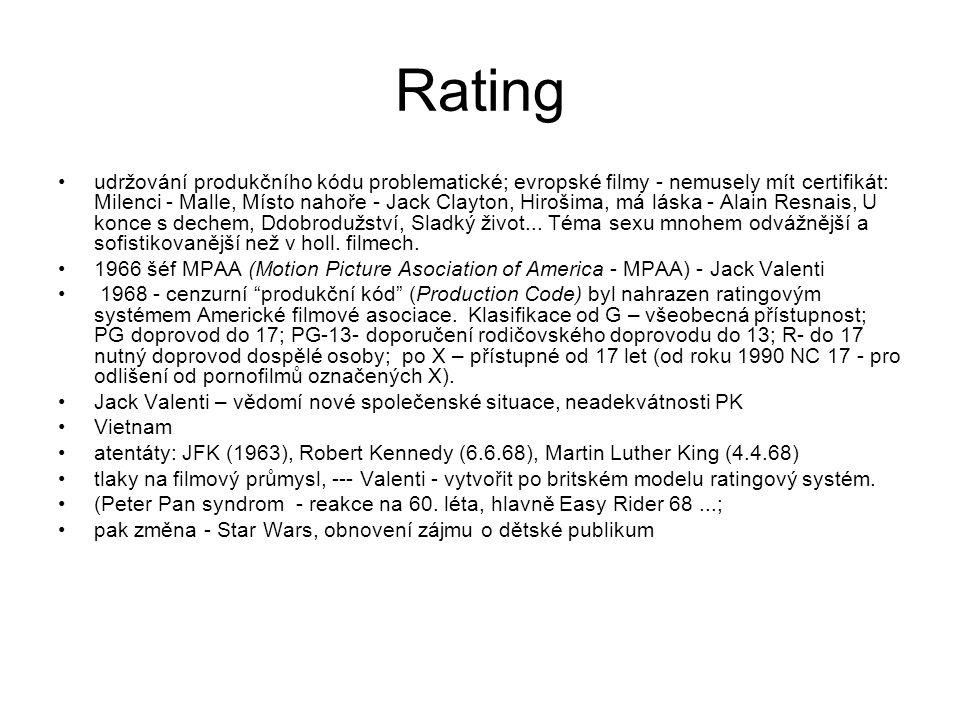 Rating •udržování produkčního kódu problematické; evropské filmy - nemusely mít certifikát: Milenci - Malle, Místo nahoře - Jack Clayton, Hirošima, má láska - Alain Resnais, U konce s dechem, Ddobrodužství, Sladký život...
