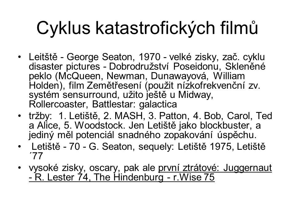 Cyklus katastrofických filmů •Leitště - George Seaton, 1970 - velké zisky, zač. cyklu disaster pictures - Dobrodružství Poseidonu, Skleněné peklo (McQ