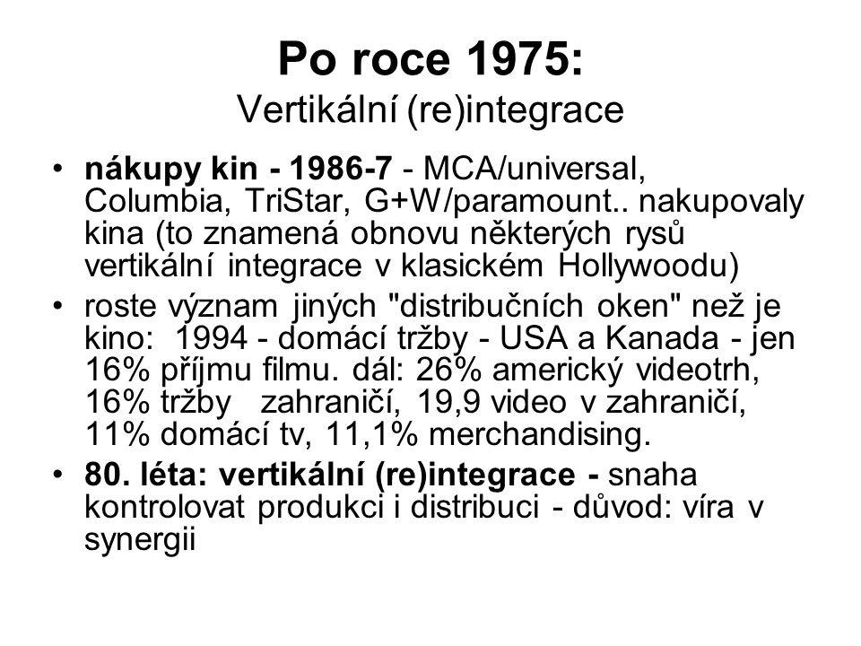 Po roce 1975: Vertikální (re)integrace •nákupy kin - 1986-7 - MCA/universal, Columbia, TriStar, G+W/paramount.. nakupovaly kina (to znamená obnovu něk