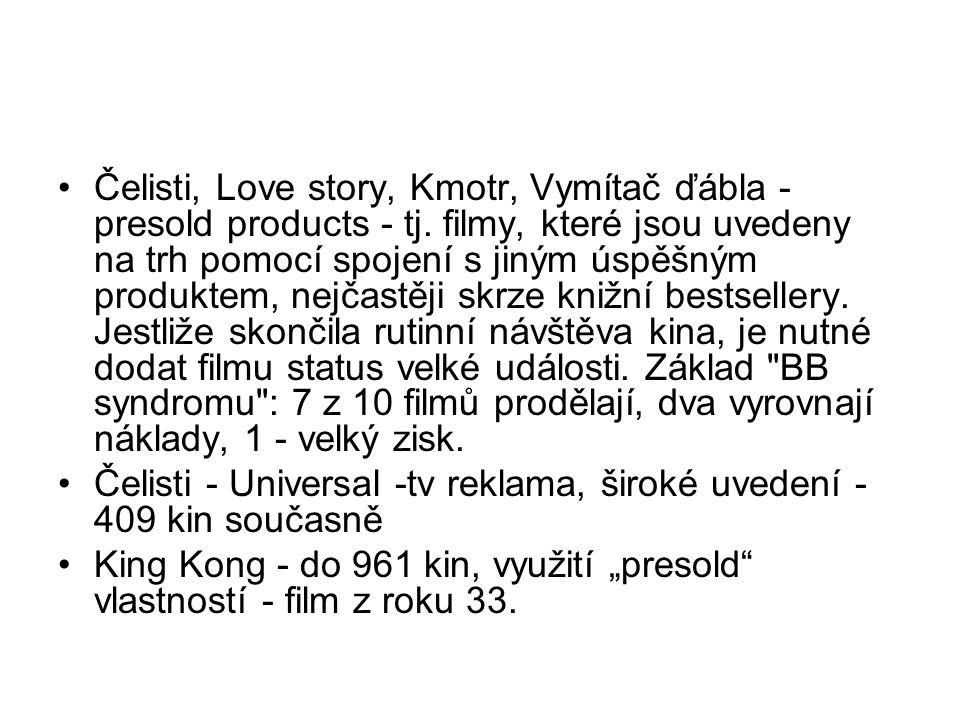 •Čelisti, Love story, Kmotr, Vymítač ďábla - presold products - tj. filmy, které jsou uvedeny na trh pomocí spojení s jiným úspěšným produktem, nejčas