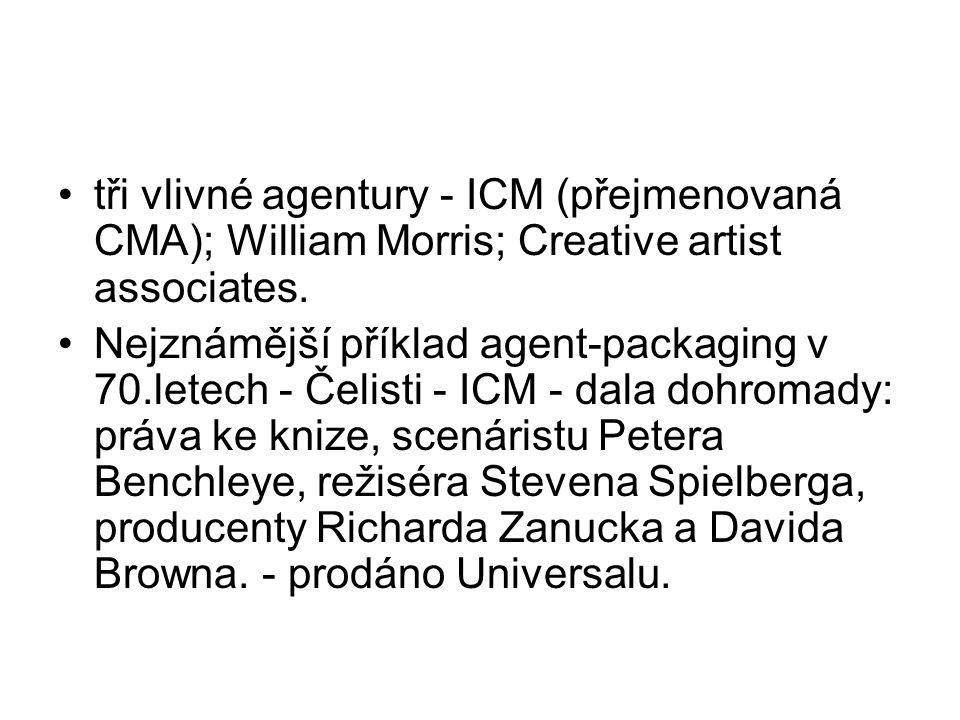 •tři vlivné agentury - ICM (přejmenovaná CMA); William Morris; Creative artist associates. •Nejznámější příklad agent-packaging v 70.letech - Čelisti