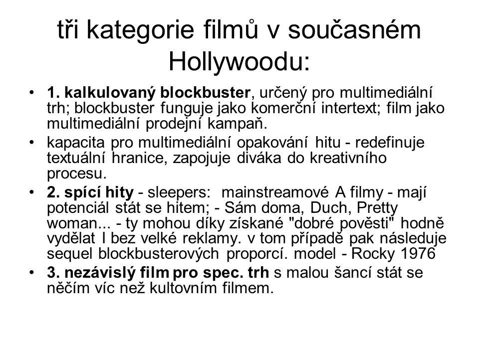 tři kategorie filmů v současném Hollywoodu: •1. kalkulovaný blockbuster, určený pro multimediální trh; blockbuster funguje jako komerční intertext; fi