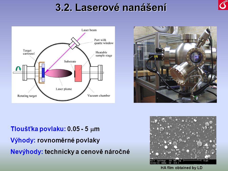 Tloušťka povlaku: 0.05 - 5  m Výhody: rovnoměrné povlaky Nevýhody: technicky a cenově náročné HA film obtained by LD 3.2. Laserové nanášení