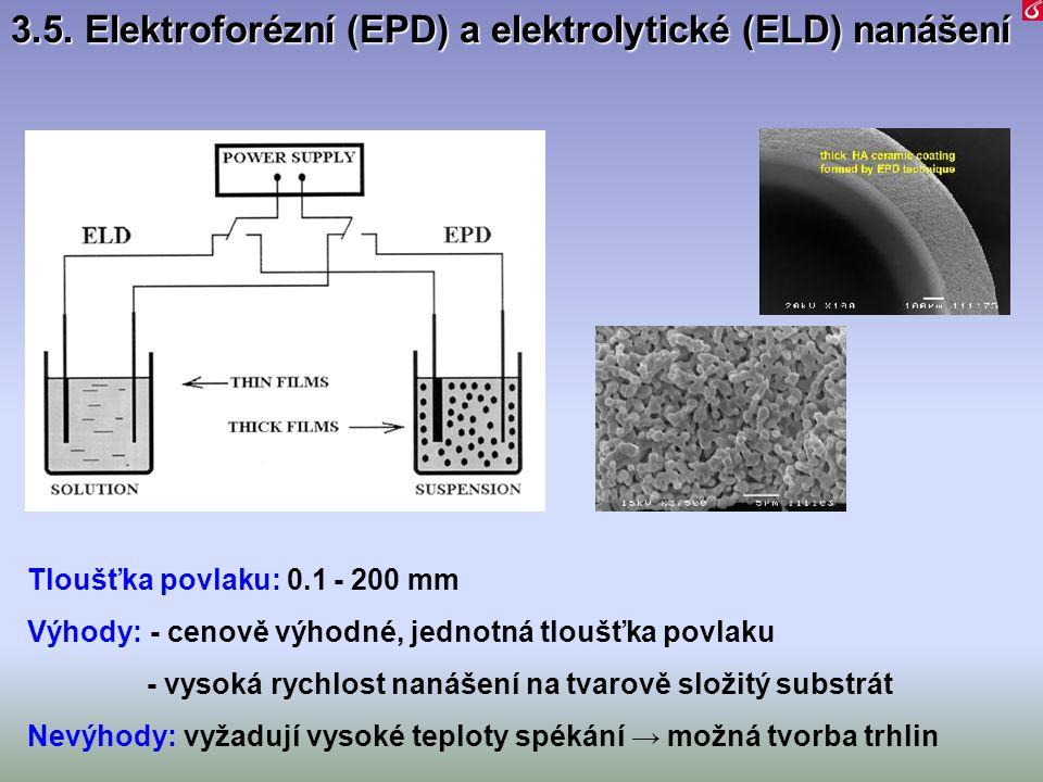 Tloušťka povlaku: 0.1 - 200 mm Výhody: - cenově výhodné, jednotná tloušťka povlaku - vysoká rychlost nanášení na tvarově složitý substrát Nevýhody: vy