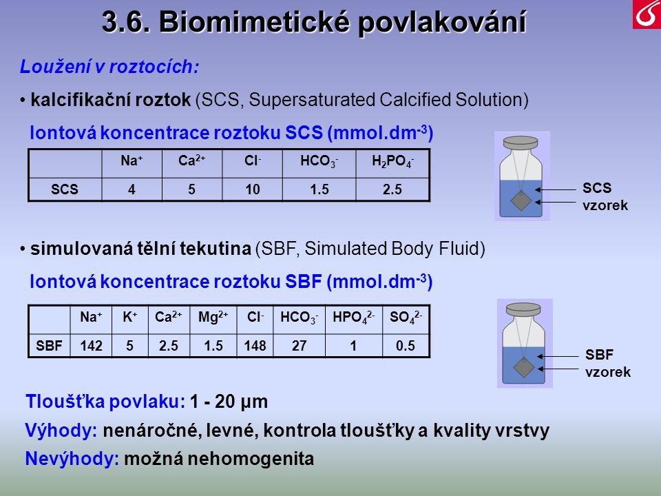 Loužení v roztocích: • kalcifikační roztok (SCS, Supersaturated Calcified Solution) Iontová koncentrace roztoku SCS (mmol.dm -3 ) • simulovaná tělní t