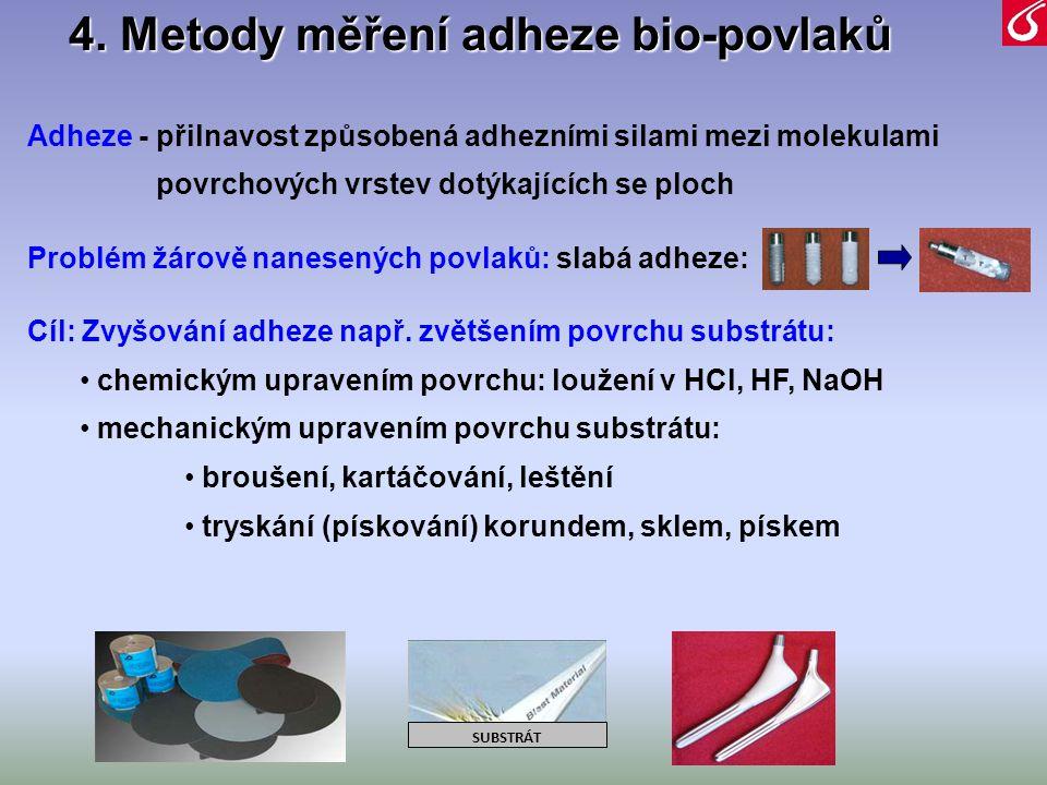 4. Metody měření adheze bio-povlaků Adheze - přilnavost způsobená adhezními silami mezi molekulami povrchových vrstev dotýkajících se ploch Problém žá