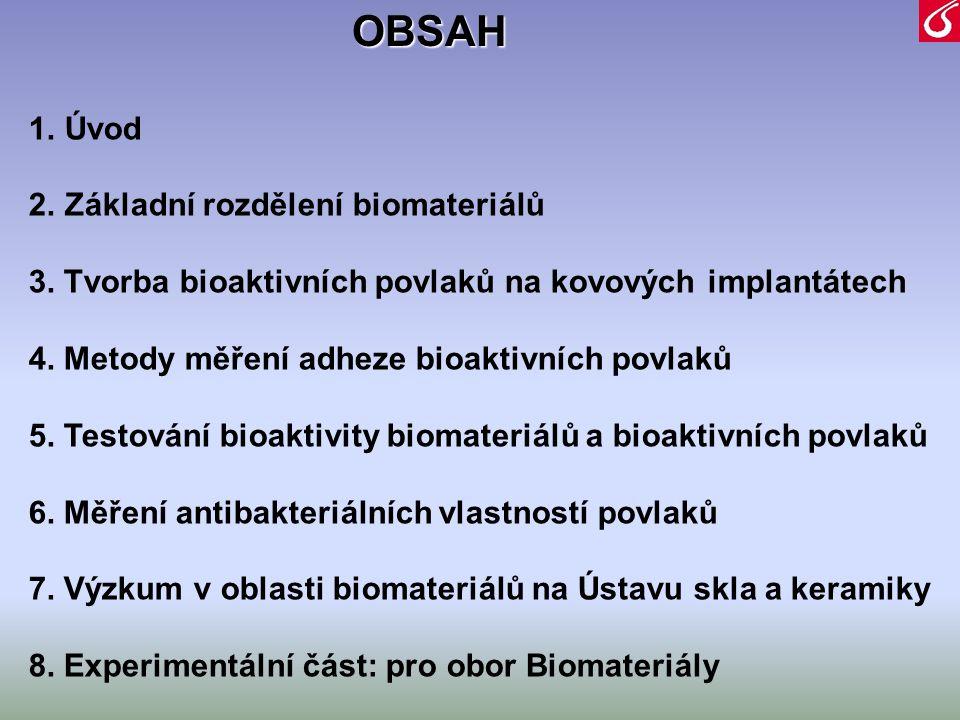 1.Úvod 2.Základní rozdělení biomateriálů 3. Tvorba bioaktivních povlaků na kovových implantátech 4. Metody měření adheze bioaktivních povlaků 5. Testo