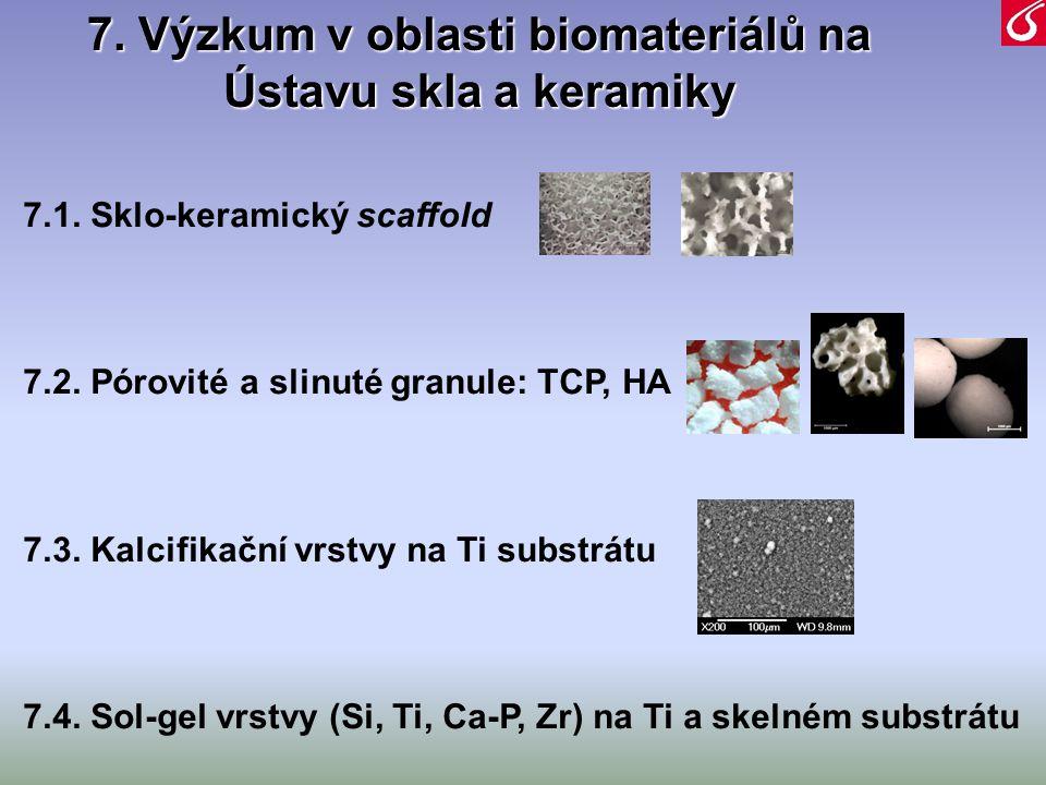 7.1. Sklo-keramický scaffold 7.2. Pórovité a slinuté granule: TCP, HA 7.3. Kalcifikační vrstvy na Ti substrátu 7.4. Sol-gel vrstvy (Si, Ti, Ca-P, Zr)