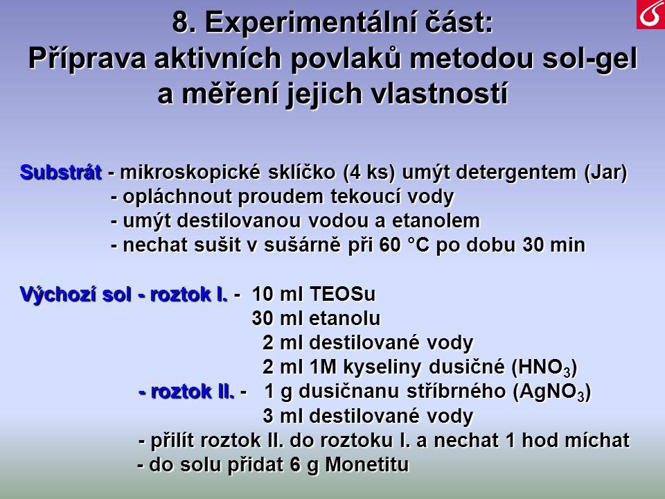 8. Experimentální část: Příprava aktivních povlaků metodou sol-gel a měření jejich vlastností Substrát - mikroskopické sklíčko (4 ks) umýt detergentem