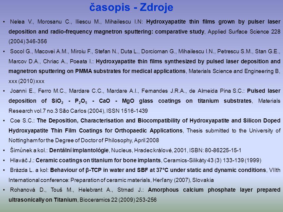• Nelea V., Morosanu C., Iliescu M., Mihailescu I.N: Hydroxyapatite thin films grown by pulser laser deposition and radio-frequency magnetron sputteri