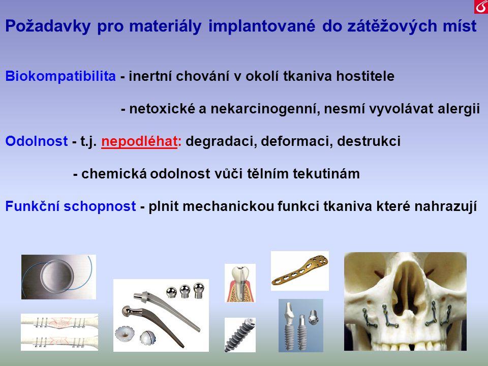 Požadavky pro materiály implantované do zátěžových míst Biokompatibilita - inertní chování v okolí tkaniva hostitele - netoxické a nekarcinogenní, nes