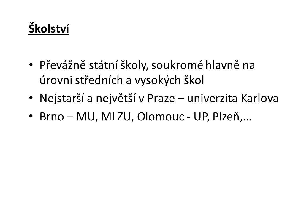Školství • Převážně státní školy, soukromé hlavně na úrovni středních a vysokých škol • Nejstarší a největší v Praze – univerzita Karlova • Brno – MU, MLZU, Olomouc - UP, Plzeň,…