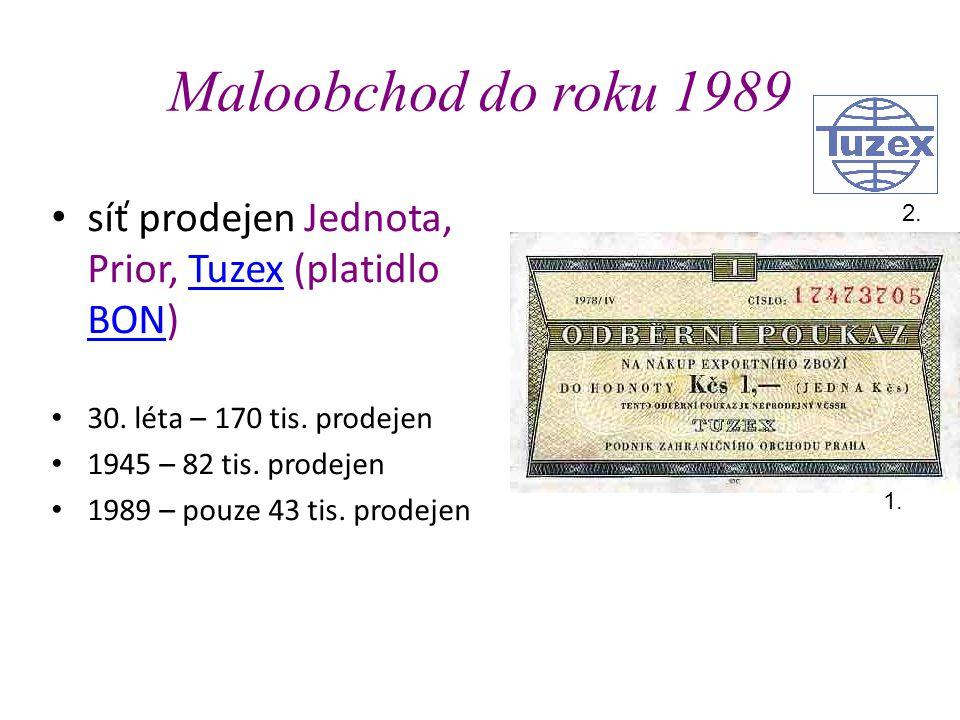 Maloobchod do roku 1989 • síť prodejen Jednota, Prior, Tuzex (platidlo BON)Tuzex BON • 30.