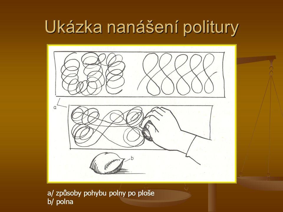 Ukázka nanášení politury a/ způsoby pohybu polny po ploše b/ polna