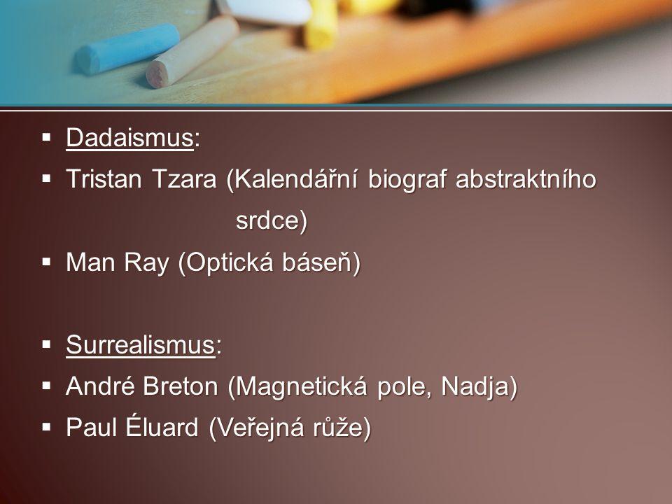 Dadaismus:  Tristan Tzara (Kalendářní biograf abstraktního srdce) srdce)  Man Ray (Optická báseň)  Surrealismus:  André Breton (Magnetická pole,