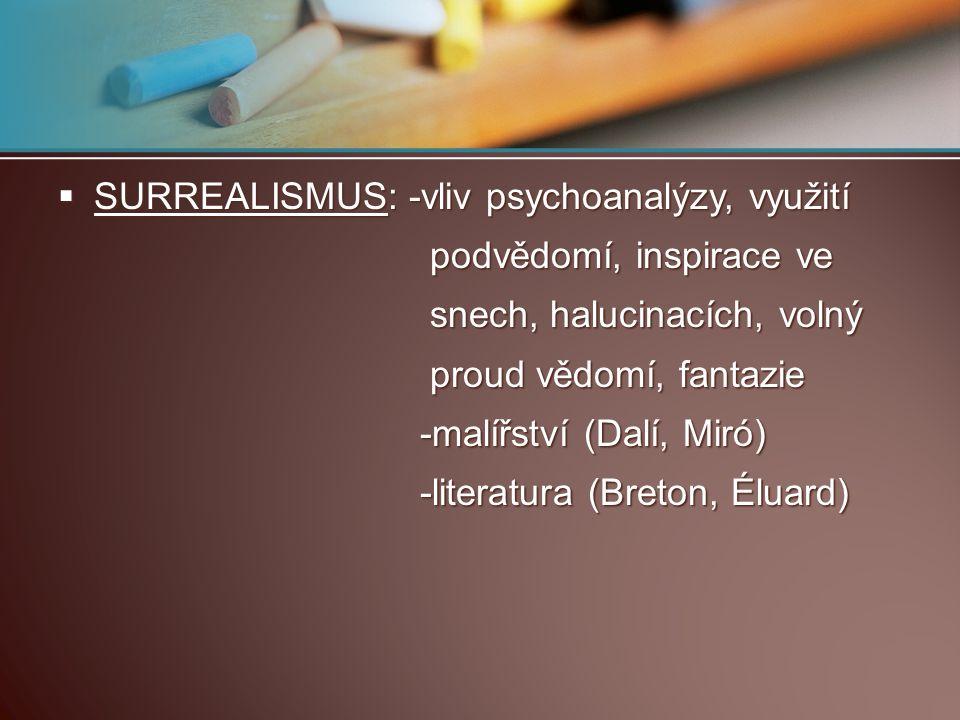  SURREALISMUS: -vliv psychoanalýzy, využití podvědomí, inspirace ve podvědomí, inspirace ve snech, halucinacích, volný snech, halucinacích, volný pro