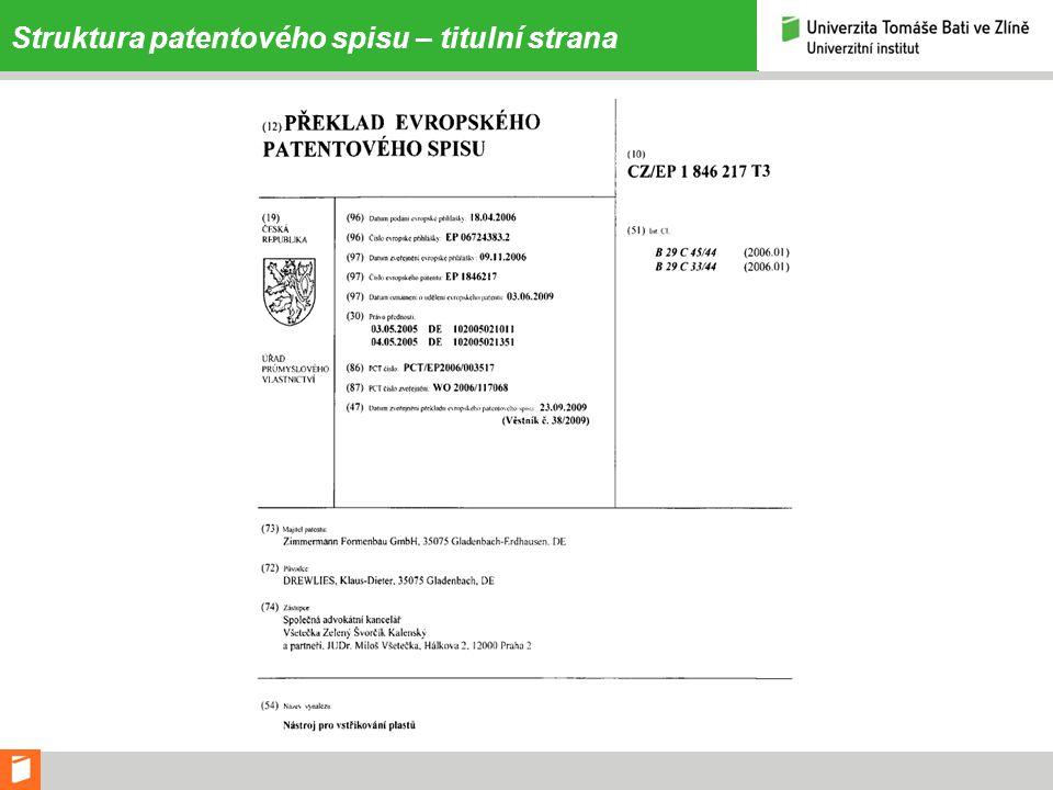 Struktura patentového spisu – titulní strana
