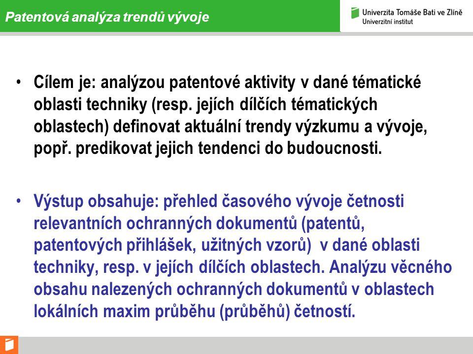 Patentová analýza trendů vývoje • Cílem je: analýzou patentové aktivity v dané tématické oblasti techniky (resp.