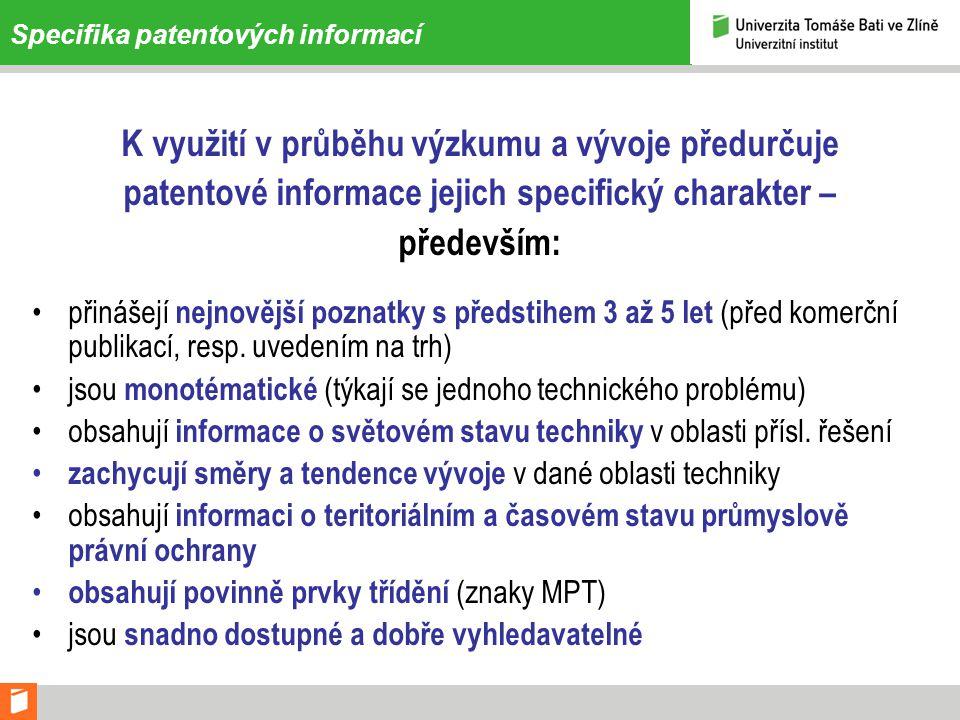 Praktický příklad – výpis hitlistu rešerše 3 (dotaz 2) 11 SEAMLESS RFID TAG SECURITY SYSTEM Inventor: CHAN CHRISTOPHER Y [US] ; SHAH VIKRAM M [US] (+1) Applicant: SKYETEK INC [US] EC: H04B5/00R2; H04B5/02H04B5/00R2H04B5/02 IPC: H04K1/00 Publication info: EP1977402 (A2) - 2008-10-08 Priority Date: 2005-12-30 12 RFID SECURITY SYSTEM Inventor: CHAKRABORTY SAYAN [US] Applicant: SKYETEK INC [US] EC: H04L29/06S4B2; H04L9/08H04L29/06S4B2H04L9/08 IPC: G08B13/14 Publication info: EP1932124 (A2) - 2008-06-18 Priority Date: 2005-08-31 13 SECURE RFID PACKAGING Inventor: DEWAN SUNIL [US] Applicant: FIRST DATA CORP [US] EC: G06K19/073A2A; G06K19/077TG06K19/073A2AG06K19/077T IPC: G08B13/14; G08B13/14 Publication info: EP1899929 (A2) - 2008-03-19 - zamítnuta Priority Date: 2005-07-06 14 METHOD AND DEVICE FOR INCREASED RFID TRANSMISSION SECURITY Inventor: TEUWEN PHILIPPE [NL] ; THUERINGER PETER [NL] Applicant: NXP BV [NL] EC: IPC: G06K19/00; G06K7/00; G06K19/00; (+1) Publication info: EP1894145 (A1) - 2008-03-05 EP1894145 (B1) - 2009-04-01 Priority Date: 2005-06-07 15 OBJECT LOCATION BASED SECURITY USING RFID Inventor: KNOX MICHAEL [US] ; BRIDGELALL RAJ [US] Applicant: SYMBOL TECHNOLOGIES INC [US] EC: H04L12/56B; H04L29/06S10; (+1)H04L12/56BH04L29/06S10 IPC: G06K19/077; H04L12/56; G06K19/077; (+1) Publication info: EP1794951 (A1) - 2007-06-13 EP1794951 (B1) - 2010-07-14 Priority Date: 2004-09-29