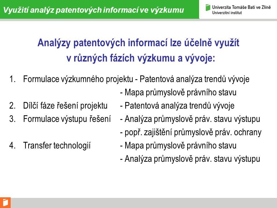 Využití analýz patentových informací ve výzkumu Analýzy patentových informací lze účelně využít v různých fázích výzkumu a vývoje: 1.Formulace výzkumného projektu - Patentová analýza trendů vývoje - Mapa průmyslově právního stavu 2.Dílčí fáze řešení projektu - Patentová analýza trendů vývoje 3.Formulace výstupu řešení - Analýza průmyslově práv.
