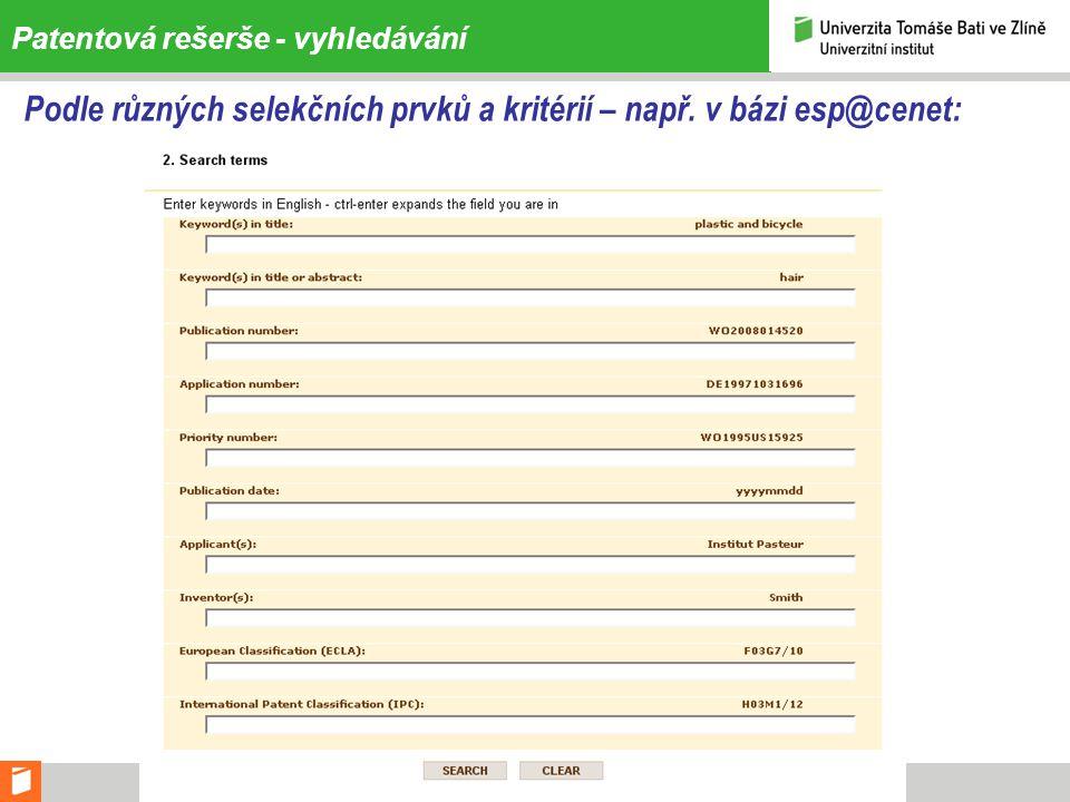 Struktura patent. spisu – příklad, popis pozic na výkrese