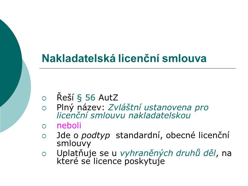 Nakladatelská licenční smlouva  Řeší § 56 AutZ  Plný název: Zvláštní ustanovena pro licenční smlouvu nakladatelskou  neboli  Jde o podtyp standard