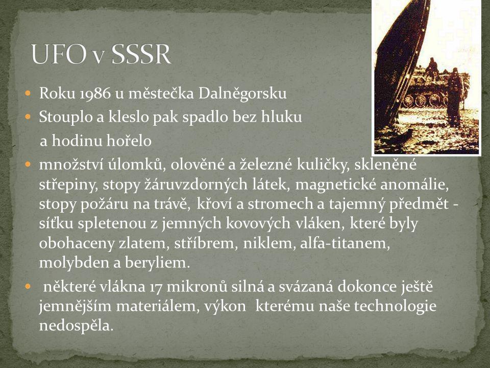  Roku 1986 u městečka Dalněgorsku  Stouplo a kleslo pak spadlo bez hluku a hodinu hořelo  množství úlomků, olověné a železné kuličky, skleněné stře
