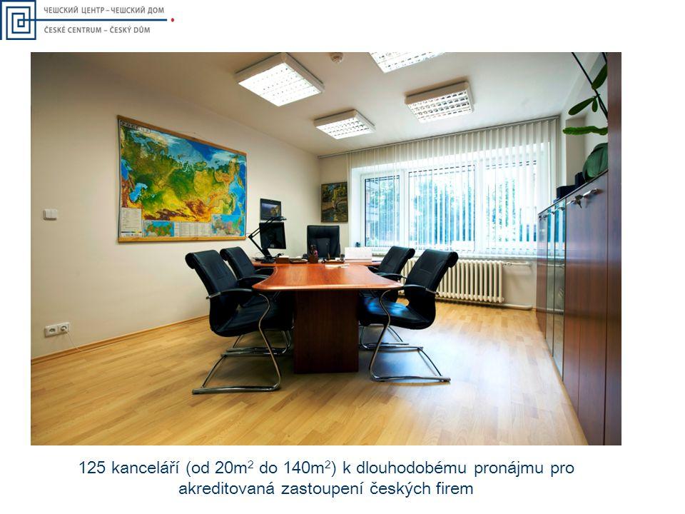 125 kanceláří (od 20m 2 do 140m 2 ) k dlouhodobému pronájmu pro akreditovaná zastoupení českých firem
