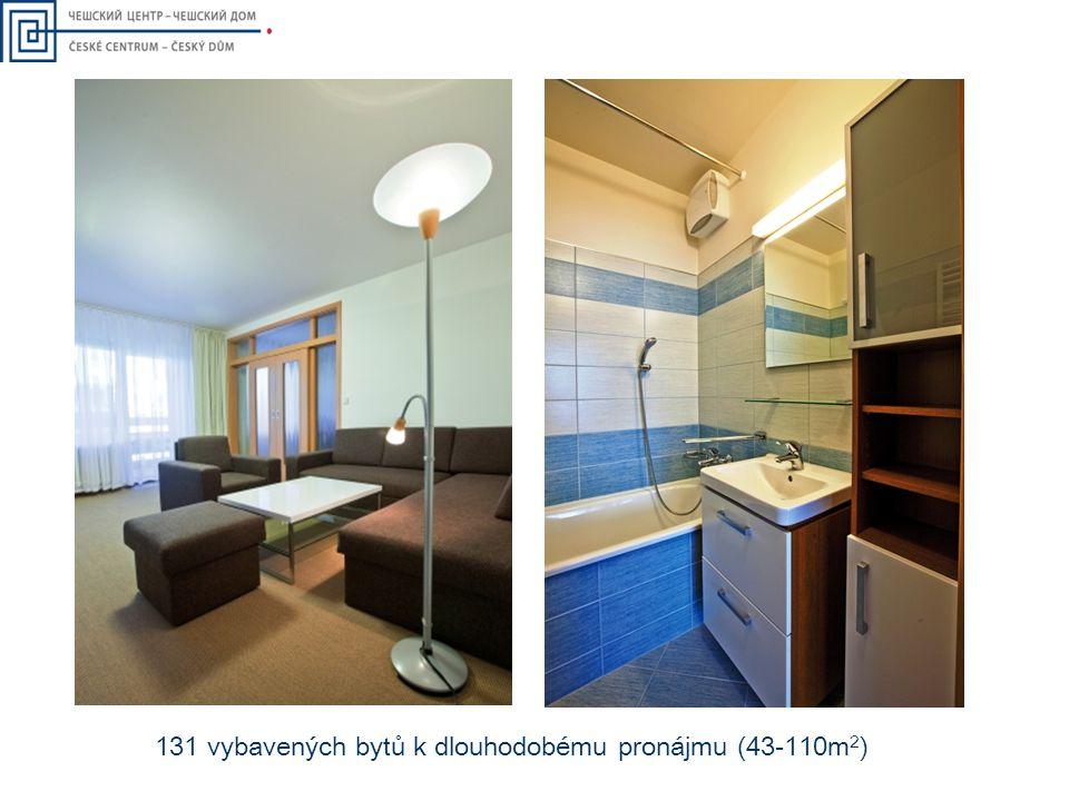 131 vybavených bytů k dlouhodobému pronájmu (43-110m 2 )