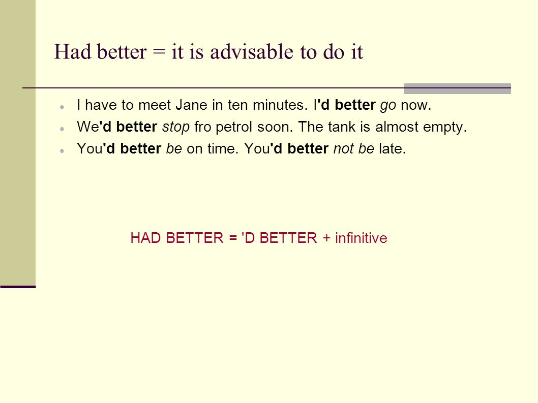 Had better = it is advisable to do it  I have to meet Jane in ten minutes.