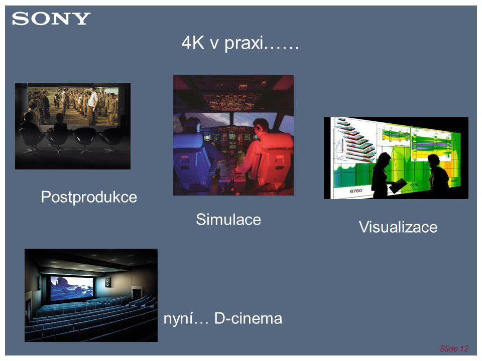 Slide 12 4K v praxi…… nyní… D-cinema Postprodukce Visualizace Simulace