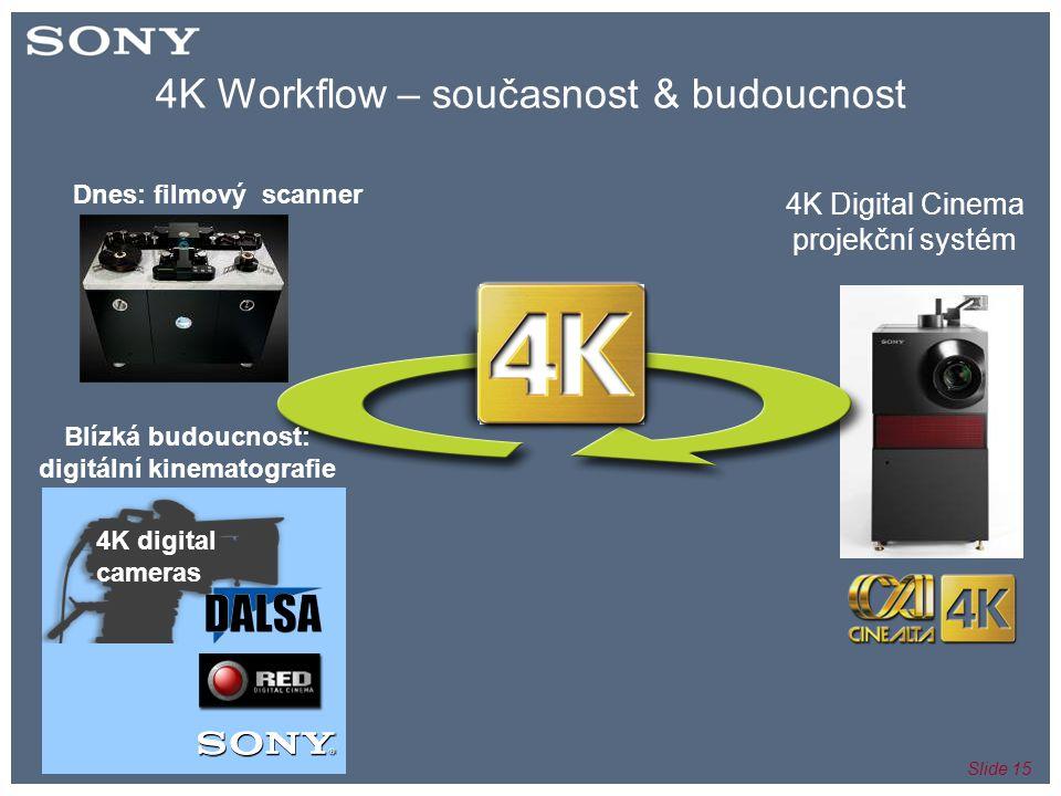 Slide 15 4K Workflow – současnost & budoucnost 4K digital cameras Dnes: filmový scanner Blízká budoucnost: digitální kinematografie 4K Digital Cinema projekční systém