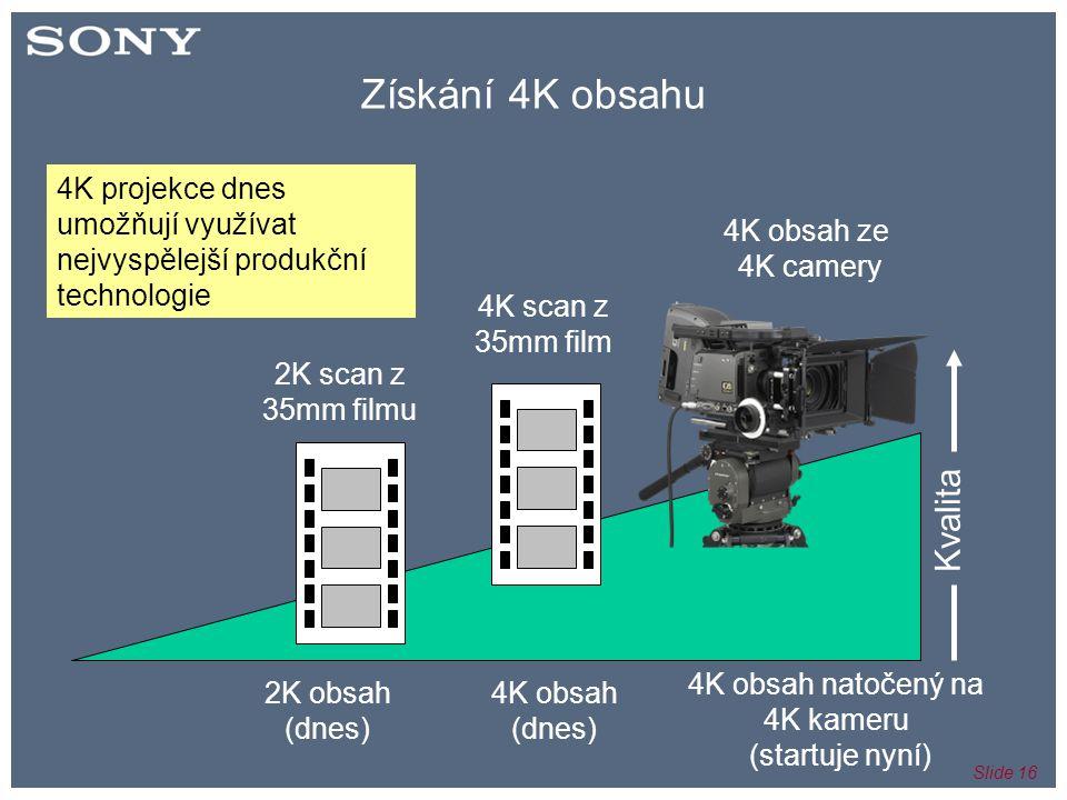 Slide 16 Získání 4K obsahu 2K scan z 35mm filmu 4K scan z 35mm film 4K obsah ze 4K camery Kvalita 2K obsah (dnes) 4K obsah (dnes) 4K obsah natočený na 4K kameru (startuje nyní) 4K projekce dnes umožňují využívat nejvyspělejší produkční technologie