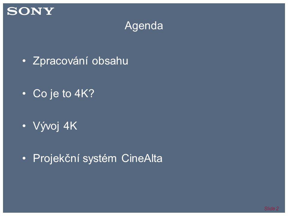 Slide 23 3D Adaptér •Unikátní Sony design •Zobrazuje L&R snímky současně na SXRD 4K čipu •Vyžaduje 3D filter system •Duben 2009 Výhody: •Zobrazuje 2K plné rozlišení ve 3D •Zobrazuje plné barevné kódování 4:4:4 ve 3D •Zobrazuje až 60P (pro alternativní obsah – např, apod.