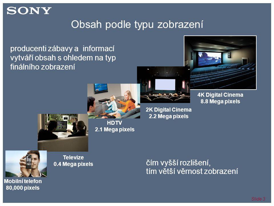 Slide 3 Obsah podle typu zobrazení Mobilní telefon 80,000 pixels Televize 0.4 Mega pixels HDTV 2.1 Mega pixels 2K Digital Cinema 2.2 Mega pixels 4K Digital Cinema 8.8 Mega pixels čím vyšší rozlišení, tím větší věrnost zobrazení producenti zábavy a informací vytváří obsah s ohledem na typ finálního zobrazení