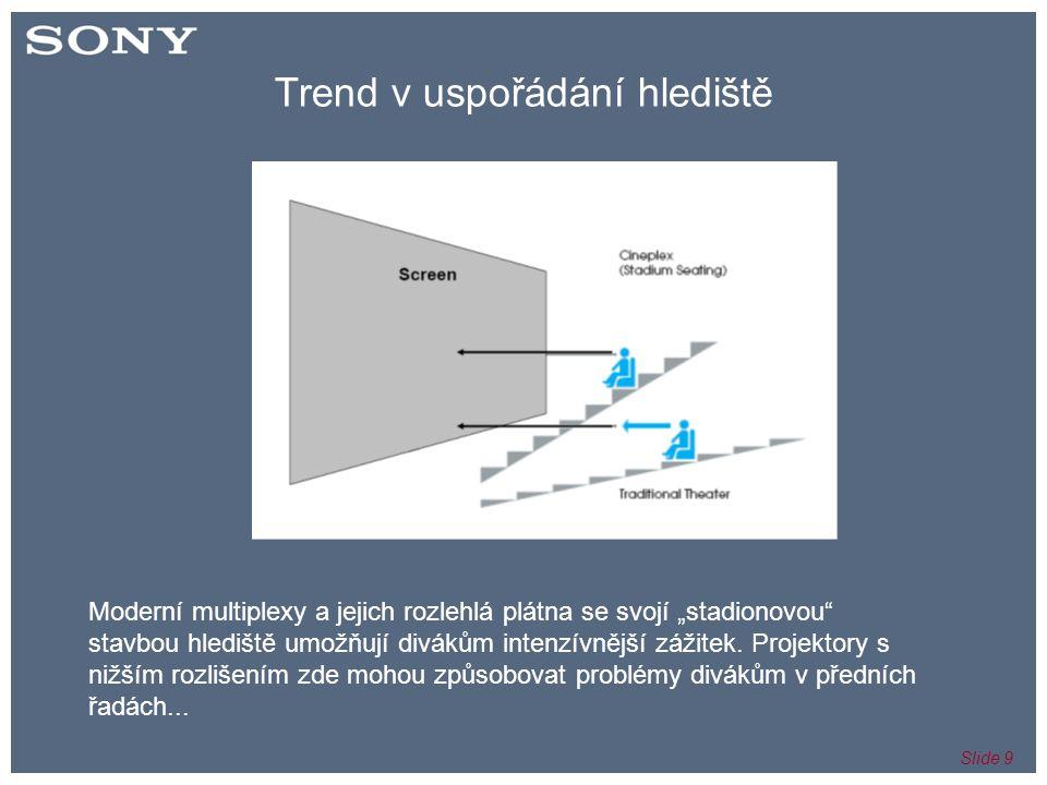 """Slide 9 Trend v uspořádání hlediště Moderní multiplexy a jejich rozlehlá plátna se svojí """"stadionovou stavbou hlediště umožňují divákům intenzívnější zážitek."""