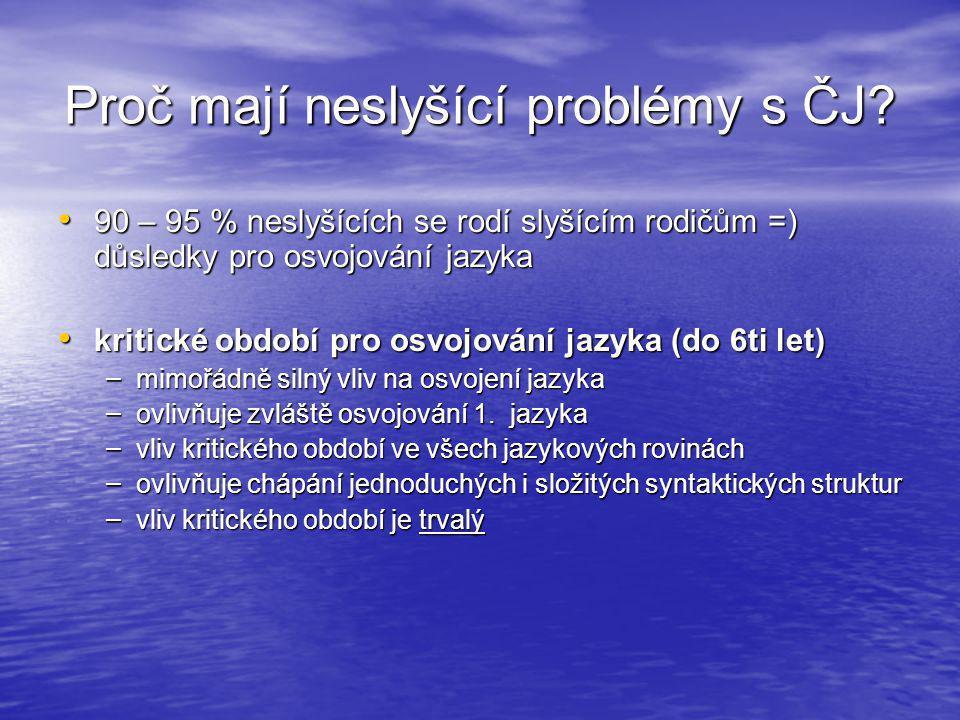"""Vliv českého znakového jazyka na psanou češtinu českých neslyšících - záměna spojek """"proto a """"protože (nerozlišování důsledkových a důvodových vztahů): """"Zítra pojedeme na vlaku lyžovat, proto zítra tu budou málo lidí, proto oni chodí do práce. (…protože zítra tu bude málo lidí, protože chodí do práce.) """"Zítra pojedeme na vlaku lyžovat, proto zítra tu budou málo lidí, proto oni chodí do práce. (…protože zítra tu bude málo lidí, protože chodí do práce.) """"ty bylo bere deštník, proto prší (ty sis bral/a deštník, protože prší) """"nemůže chodit, proto on starý (nemůže chodit, protože je starý.) """"Já pořád nemám čas proto můj synku má rád a radost pádu sníhu. (Já pořád nemám čas, protože můj synek má radost z toho, že padá sníh.)"""