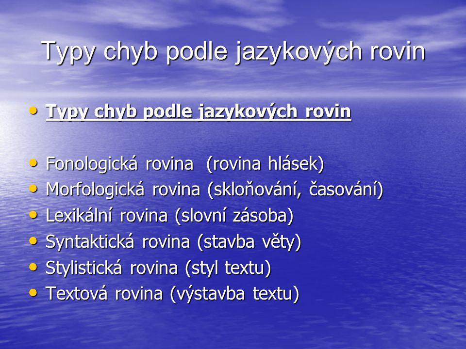 Typy chyb podle jazykových rovin • Typy chyb podle jazykových rovin • Fonologická rovina (rovina hlásek) • Morfologická rovina (skloňování, časování)