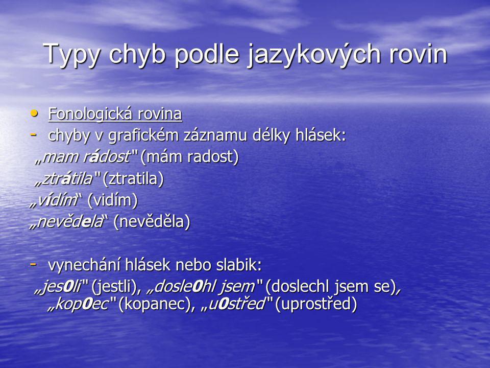 """Typy chyb podle jazykových rovin • Fonologická rovina - chyby v grafickém záznamu délky hlásek: """"mam rádost"""" (mám radost) """"mam rádost"""" (mám radost) """"z"""