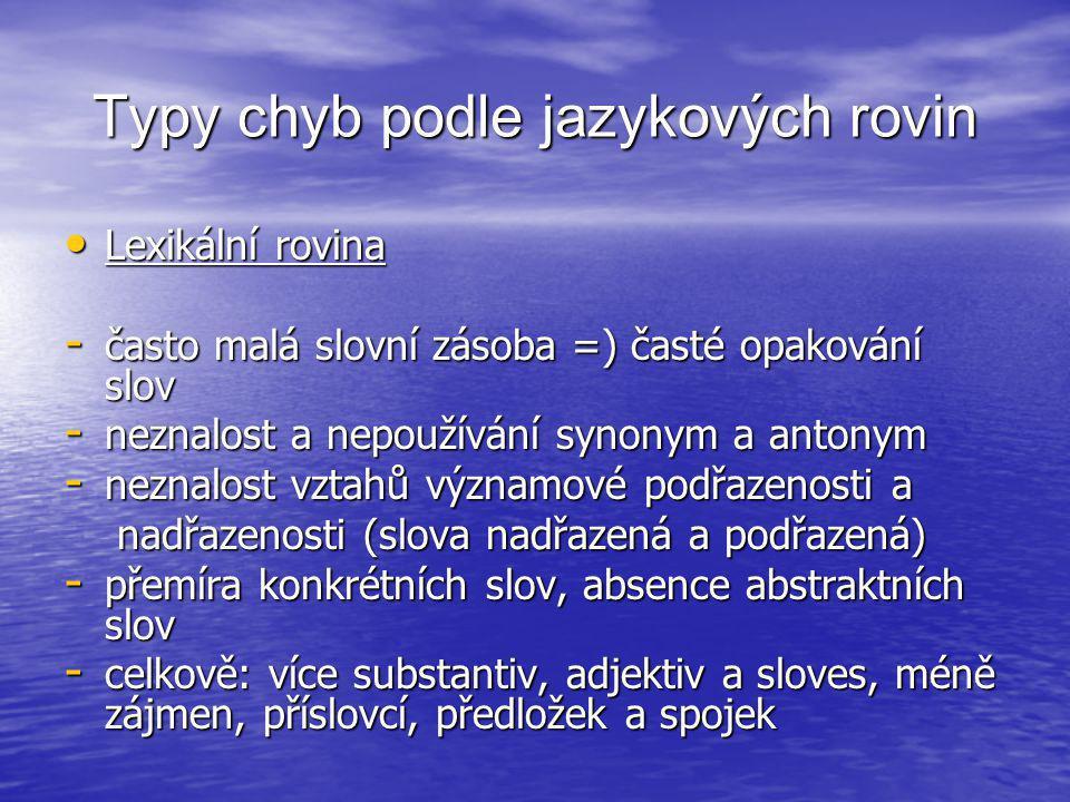 Typy chyb podle jazykových rovin • Lexikální rovina - často malá slovní zásoba =) časté opakování slov - neznalost a nepoužívání synonym a antonym - n