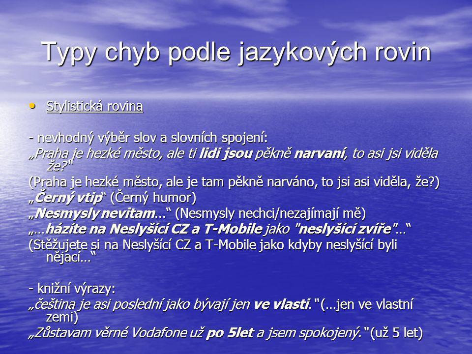 """Typy chyb podle jazykových rovin • Stylistická rovina - nevhodný výběr slov a slovních spojení: """"Praha je hezké město, ale ti lidi jsou pěkně narvaní,"""