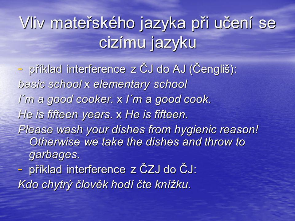 Vliv mateřského jazyka při učení se cizímu jazyku - příklad interference z ČJ do AJ (Čengliš): basic school x elementary school I´m a good cooker. x I