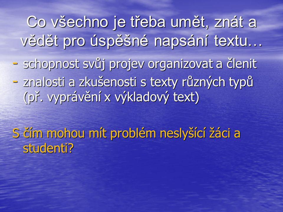 """Typy chyb v psané češtině českých neslyšících • nahrazení - nahrazení nevhodným slovem: """"mouka hladká a drsná (hrubá) """"hluboké a nízké vody (mělké) """"na poslední času (chvíli) - záměna hlásek: """"zapladim (zaplatim), kazeda (kazeta), """"odvolení (odvolání), """"kuktus (kaktus) """"zapladim (zaplatim), kazeda (kazeta), """"odvolení (odvolání), """"kuktus (kaktus)"""