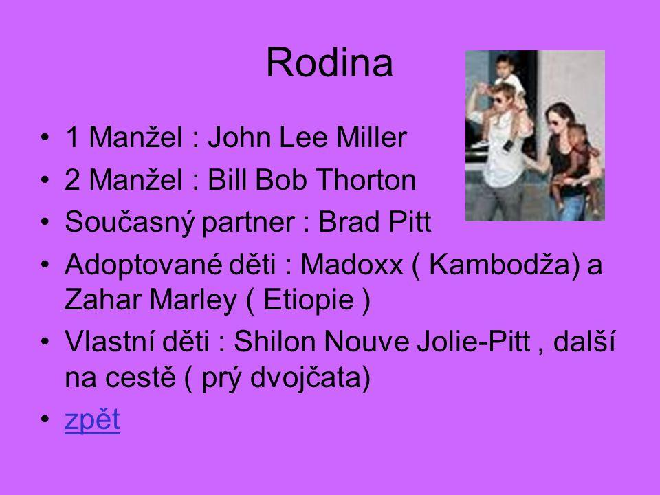 Rodina •1 Manžel : John Lee Miller •2 Manžel : Bill Bob Thorton •Současný partner : Brad Pitt •Adoptované děti : Madoxx ( Kambodža) a Zahar Marley ( E