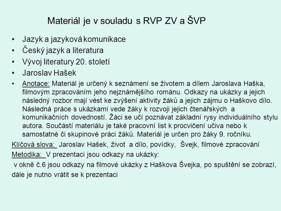 Materiál je v souladu s RVP ZV a ŠVP •Jazyk a jazyková komunikace •Český jazyk a literatura •Vývoj literatury 20. století •Jaroslav Hašek •Anotace: Ma